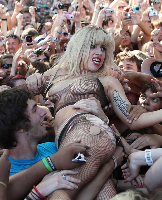 Lady Gaga Crowd Surfs