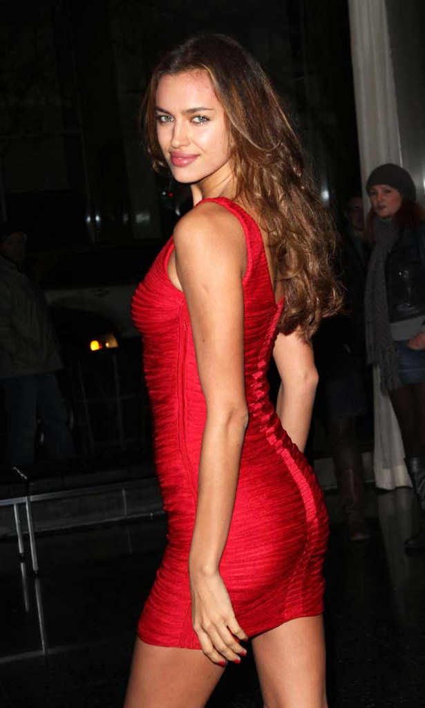 Irina Shayk Steps Out in a Little Red Dress